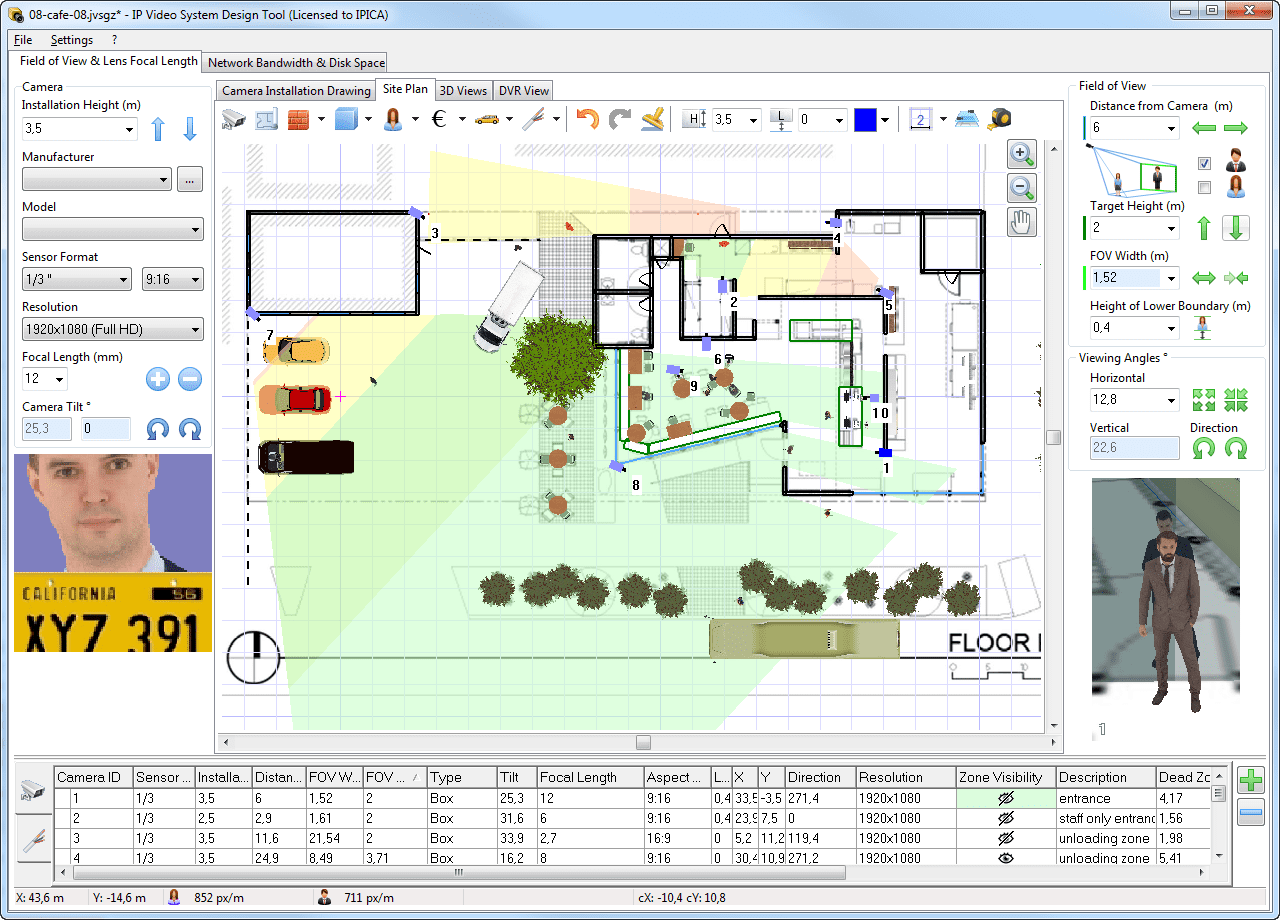 Easy cad software for cctv for Security camera placement software